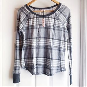 Victoria's Secret Black Plaid Thermal Sleep Top Sm